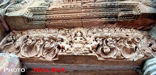 lintel at a stone sanctuary, thailand