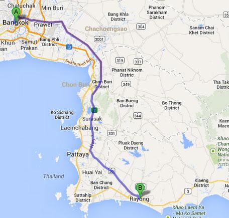 Bangkok to Rayong via Motorway